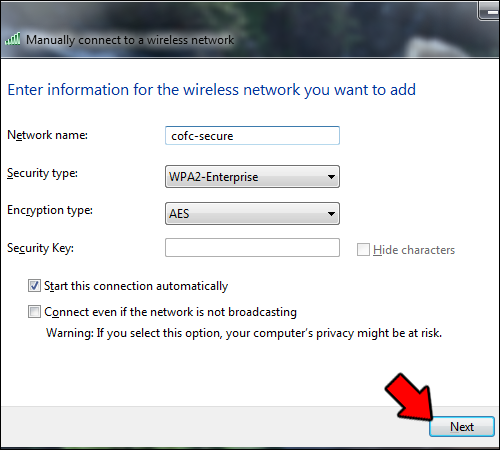how to change wireless security settings on windows 7